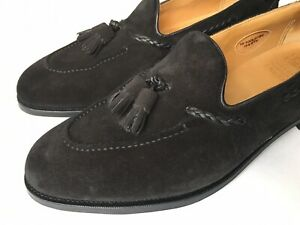 Edward Green Belgravia Tassel Loafer Black Suede 10/10.5 E, 184  $1400
