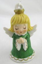 Vintage Lefton ANGEL Bell Ornament Green Girl Praying Christmas Tree Figurine