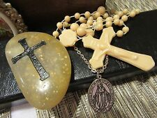 "Miraculous MARY Silver Medal chain & ""Worry"" Stone etched w/cross & Rosary"