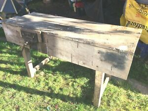 Vintage Classic 5ft Carpenters Joiners Bench Record 52 1/2 Vice - Herefordshire