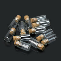 10Pcs Mini Small Cork Stopper Glass Bottles Vials Decorative Storage Pendant