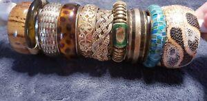 Lot of 10 Vintage Brass Metal Large Bangle Bracelets Lucite Browns