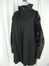 DESMOND'S Vtg 30-40s Black Curly Lamb Fur/Wool Swing Jacket-Bust 40/M