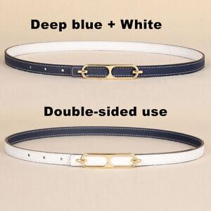 Real Leather Waist Belt Double Sided Use Waistband Fashion Women's Belt Thin