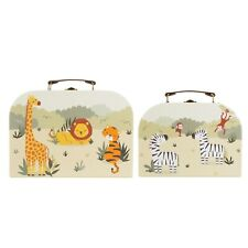 Sass & Belle Set of 2 Savannah Safari Animal Suitcases Storage Cardboard Boxes