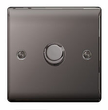BG Nexus 400w 1 Gang 2 Way Dimmer Light Switch Push Black Nickel NBN