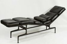 Original Charles Eames Chaise Lounge Chair Black Leather Herman Miller
