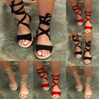 Summer Womens Ankle Strap Gladiator Sandals Flat Heel Lace Up Beach Casual Shoes
