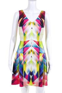 Artelier Nicole Miller Womens Knit Printed V-Neck A-Line Multicolor Dress Size 4