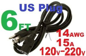 Heavy Duty Power Cord 6ft 5-15P to C13 14AWG 15A 220V. Works for all AC power.