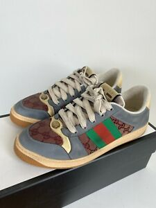 Gucci Authentic Men's Screener Leather Distressed Low Top Sneaker