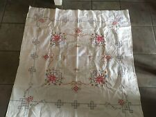 Art Deco Tablecloth Embroidered Square Table Cover Cloth Vintage Floral decor