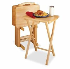 TV Trays With Stand Oak Set Dinner Rectangular Table Portable Wood Living Room