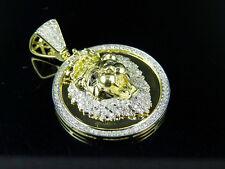 "10K Yellow Gold Lion Head Medallion Genuine Diamond Pendant 1.28Ct 1.5"""