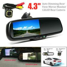 """4.3"""" Car Dimming TFT LCD Rear View Mirror Monitor w/LED Rear Camera Night Vision"""