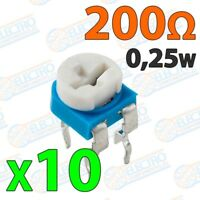 Potenciometro preset 200 ohm 0,25w ±20% - Lote 10 unidades - Arduino Electronica