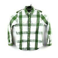 Eddie Bauer Classic Fit Long Sleeve Green Plaid Button Down Shirt Mens Medium