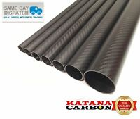 Matt 1 x OD 10mm x ID 8mm x 1000mm (1 m) 3k Carbon Fiber Tube (Roll Wrapped)