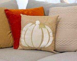 White Pumpkin Burlap Pillow USA Harvest Farmhouse Thanksgiving Pillows NEW!