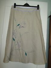 beige linen skirt with embroidery detail size 12 VGC