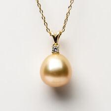 Luminous Light Golden Cultured South Sea Pearl Pendant 14k Yellow Gold 11.35mm