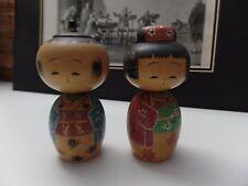 Vintage KOKESHI Wood Bobble Head Traditional Japanese Pair Dolls