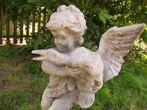 """BREATHTAKING EARLY 20TH HEAVY METAL PUTTO W/GOOSE ANTIQUE GARDEN FOUNTAIN 24""""T"""
