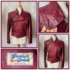 Vintage 1970s Red Plum Leather Jacket Made in Mexico Glam Rock Size 12