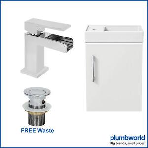 400mm Bathroom Basin Sink Vanity Unit Wall Hung White Waterfall Tap FREE Waste