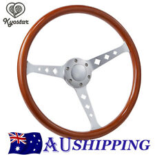 380mm Wood Grain Silver Brushed Spoke Steering Wheel Horn classic 15 inch New