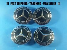 Center Wheel Cap Black Chrome Fit Mercedes 75mm S ML GL E C USA Rim Emblem Caps