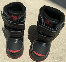 BUSTER BROWN High Top Blk W/Red Trim VELCRO Baby Boy Shoes NEW Size 7