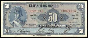Mexico P-49g Banco de Mexico 50 Pesos FB-E, 8.9.1954  VF/EF
