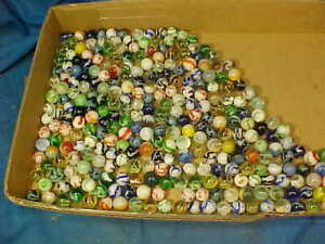 3 POUNDS of Vintage GLASS MARBLES Various STYLES + COLORS