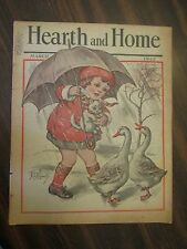 Hearth and Home March 1933 Augusta Maine Rain Storm Girl & Geese