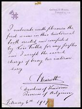 HENRIETTE Princess of Belgium: Autograph Letter about Loie FULLER (Dancer)