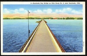 Vintage Postcard, 2 Sandusky Bay Bridge on Ohio Route No.2, Ohio - C.T. Art