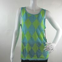 Rondina New York Women's Tank Top Blouse Knit Green Blue Cotton Blend Size XL
