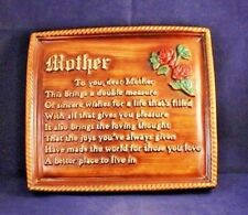 """Beautiful Vtg """"Mother"""" Chalkware 9"""" Heavy Wall Hangar Sign Plaque """"To you."""""""