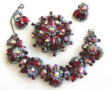 Vintage Parure JULIANA Set Red AB Brooch~Bracelet~Earrings Gorgeous Never Worn