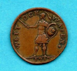SWEDEN 1717 COPPER DALER COIN. CARL XII. EMERGENCY CURRENCY.