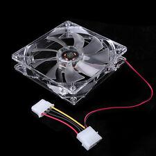 120mm 4 Blue LED Light Computer PC Clear Case Quad 12CM CPU Cooling Fan Heatsink