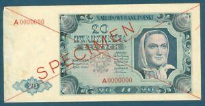 Poland Specimen 20 Dwadziescia Zlotych 1948 Narodowy Bank Polski Pick 137s