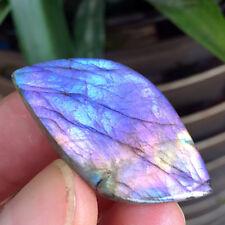 9g Natural purple labradorite crystal rough polished rock Leaf -shape