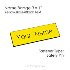 """Name Badge Tag Yellow/Black Personalised Engraved Customised Safety Pin 3x1"""" ..."""