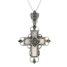 925 Sterling Silver Mother of Pearl & Marcasite Ornate Cross Pendant