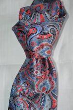"$285 NWT ERMENEGILDO ZEGNA Red Blue Paisleys Quindici 3.4"" Satin silk tie Italy"