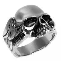 Fetter Edelstahl- Ring, Totenkopf & Flügel, sehr edel & gut zu tragen