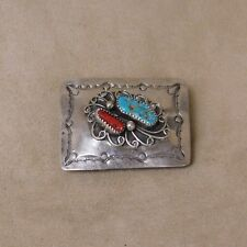 Coral Belt Buckle Sterling Silver Turquoise and