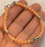"""Vintage Sterling Silver Angel Skin Coral Beaded Bracelet 8"""" Stunning!!"""